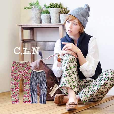 Fullengseagy pants cotton linen material natural texture. Wide straight silhouette of geometric pattern floral design flower ladies cute fashionable ◆ C.L.N( sea Ellen ) long cotton linen pants