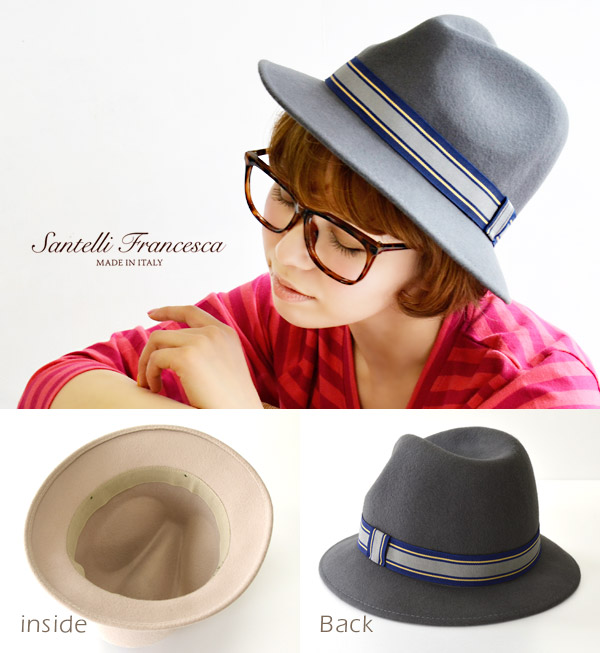 The soft felt hat hat that mannish color ribbon accentuated. 100% of high-quality wool felt material use / capeline /HAT/ りぼん / サンテリ ◆ santelli francesca (サンテリフランチェスカ) wool felt soft felt hat hat
