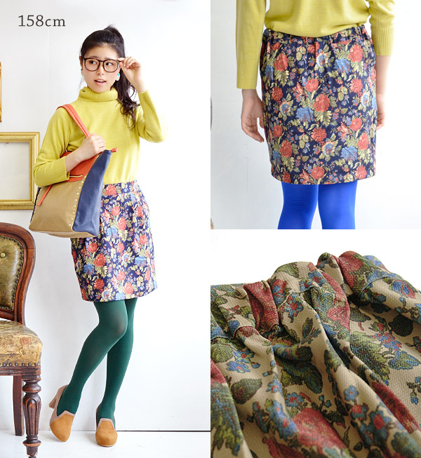 Draw the feminine curves, retro and classic large floral skirt. Butcher material canvas material, such as woven and solid feeling of elegant ♪ / Mini ◆ クラシカルフラワーブッチャーコクーン skirt