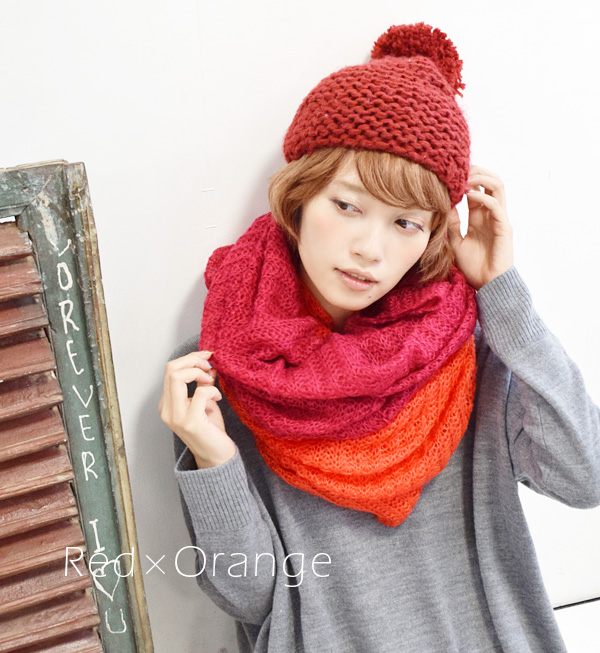This is just revolutionary! Can be worn cylindrical muffler roll winter scarf knitted by color soft volumes ◆ knitted 2WAY snood scarf