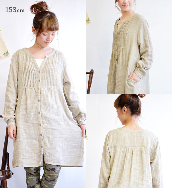 The V neck dress which is worn clearly. Is worn relaxedly; is an A-line silhouette softly. The full-scale button opening and shutting knee length knee-length India cotton lady's cute fashion mail order Rakuten ◆ slab double gauze key neck shirt-dress whi