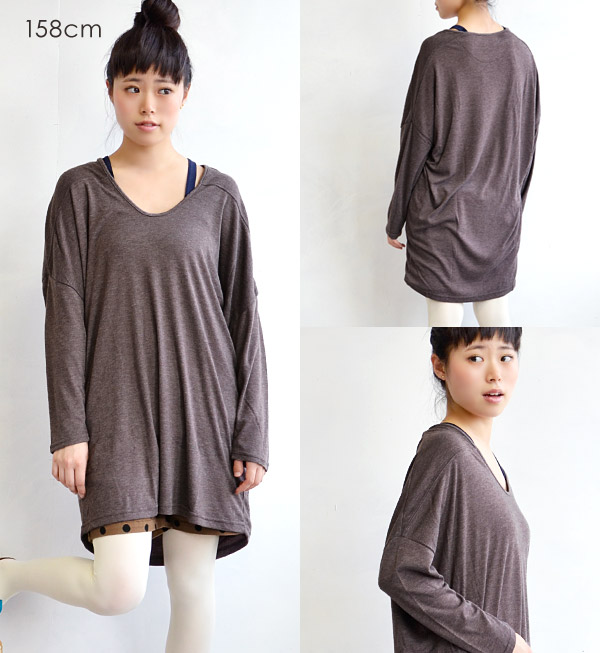 A lot of loose heteromorphic cut-and-sew dresses. The silhouette ♪ shoulder pretty fashion inner tops ◆ mousse U neck dropped shoulder sleeve dress which is clean for a feeling of omission only by rayon blend clearly