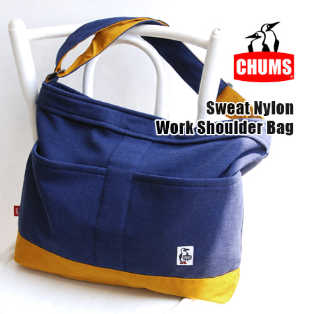 Cordura nylon for strength × BIG size became a heterogeneous material color design with suet square-angled seat bag / bag over the shoulder gusset men unisex /CH60-0810 ◆ CHUMS ( chums ): sweat x ナイロンビッグショルダー bag