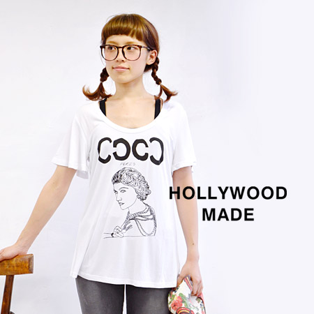 Monochromatic print Tee where a lady was drawn by a rough draft touch. Flare sleeve & beauty A-line silhouette ◎ /HWM-W13222DT/ Lady's ◆ HOLLYWOOD MADE (Hollywood maid) of the cut-and-sew cloth excellent at a feeling of omission: MISS COCO DT!! T-shi