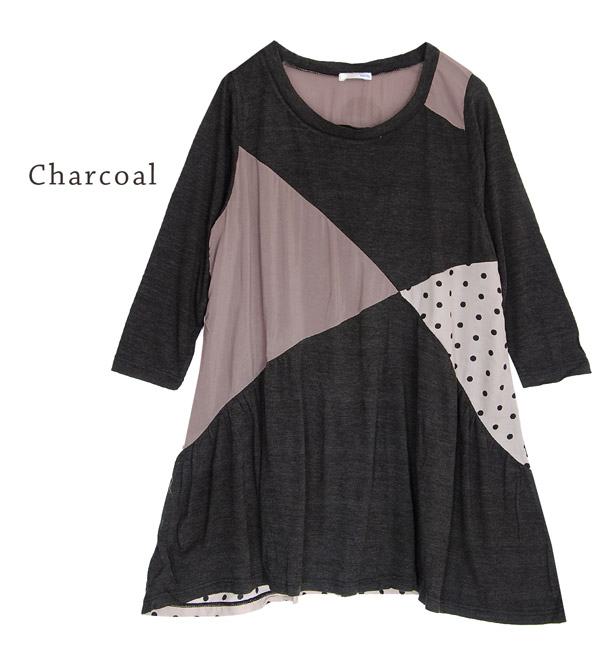 To cross diagonally different material changeover ♪ MIX of polka dot and solid fabrics, soft カットソーワン piece. A hem draw arches, feminine ラインシルエット / 7 / sleeves / 7-water sleeves / Saitama / mini-◆ cross-point dot MIX ファブリックワンピース