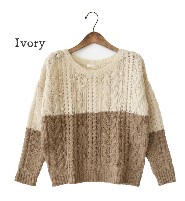 A warm two-tone lady's sweater. It is a by color wool knit pullover fashion knit sweater ◆ having a cute the 程 よいゆる silhouette long sleeves color Lady's which is easy to put on ♪ outerwear having a cute が plonk plonk
