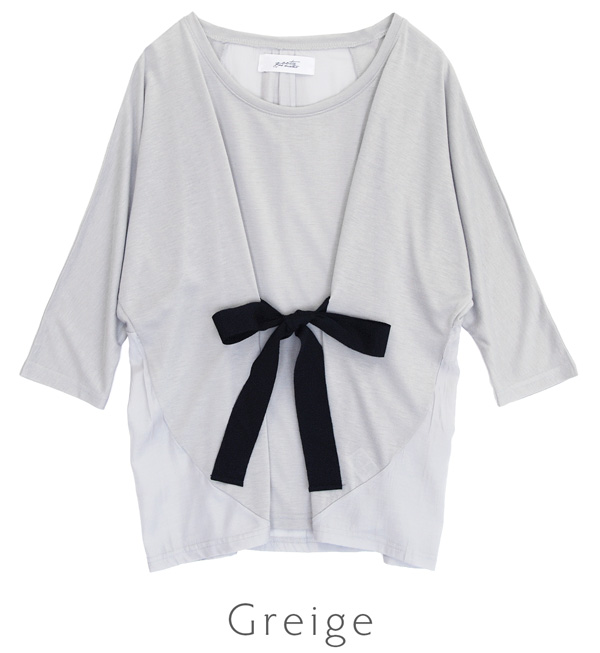 Japanese front desk arrange Ribbon, loose pullover. Front cut so thin x after bodice is different material MIX design and 7 minutes in an elegant glossy fabric switch sleeves and Dolman ◆ フロントグログランリボンドルマンプル over