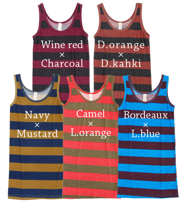 The wide island stripe of the big impact! The horizontal stripe tank tunic of the color that is colorful POP. Length that is longish to thin みの silhouette, lady's cute stylish mail order Rakuten ◆ zootie (zoo tea) which grants layering STYLE clearly: Noa