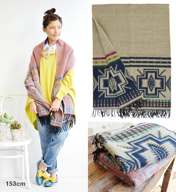 And the presence of ethnic cross-pattern painted! Soft brushed material is warm and can be used to wrap your and rug(hizakake) oversized muffler at-home blanket / insufficient cold sundries ◆ クロスオルテガラージ stall