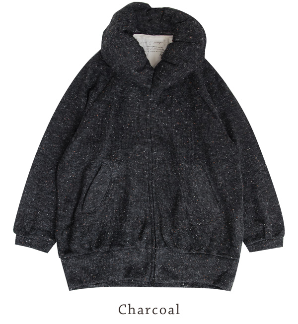 The zip up blouson of the tunic that the small face effect can aim at in the neck which is ボリューミー plumply! Knit so material Lady's fashion ◆ rivet and surge (rivet and serge) that is most suitable for the time when I want a thin haori: Balloon color NEP