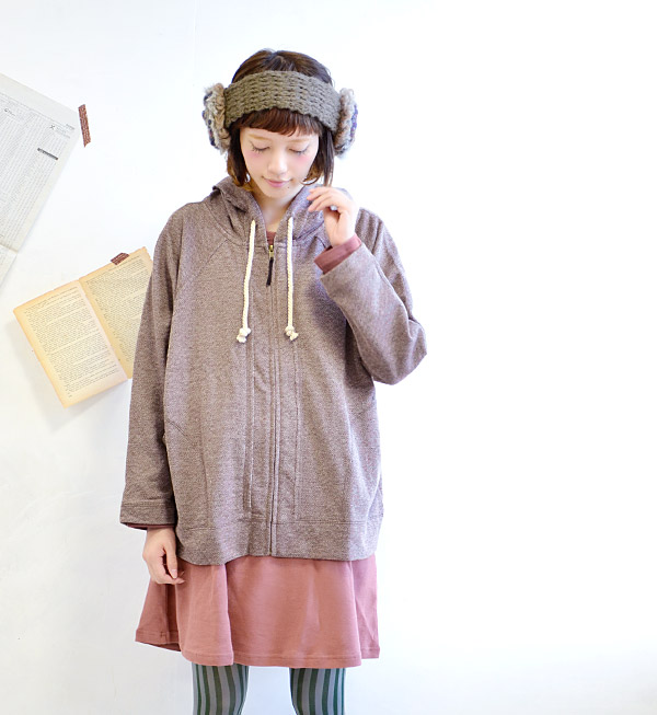 Back brushed plug was patterned expressive wearable lump back hair parka. Dolman senses that can be worn comfortably in width ラグランスリーブシルエット / women's / busboy/zipper/outer ◆ back brushed ジャガードスウェットジップアップパーカー