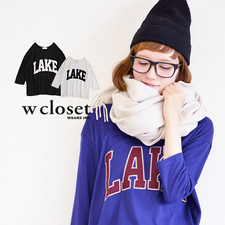 The feeling of American casual three-quarter sleeve T-shirt which drifts that a logo was sewed on in an emblem style. Lady's Tee/ tops /fs3gm ◆ w closet (double closet) to be able to dress well in a heteromorphic silhouette of the width of the body rough