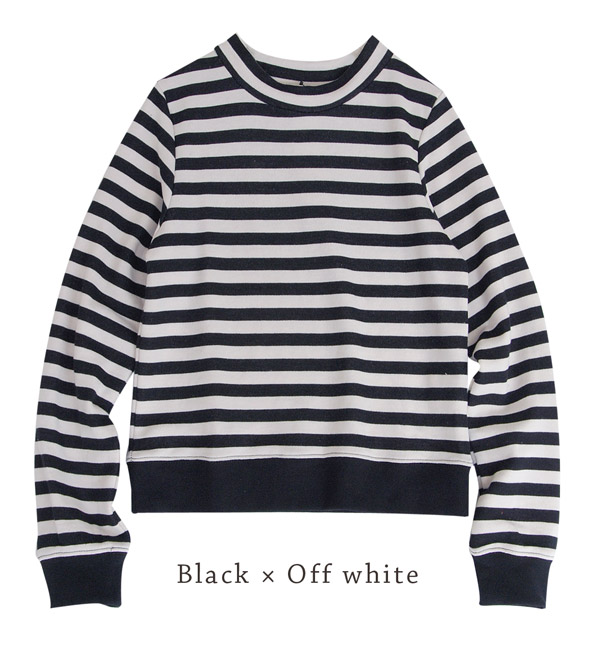 Long sleeves trainer /fs3gm ◆ w closet (double closet) of the compact sizing that became the high neck of the ♪ trend with a sweat shirt with horizontal stripes of the stylish color & exquisiteness PHS: Horizontal stripe sweat shirt high neck shortst
