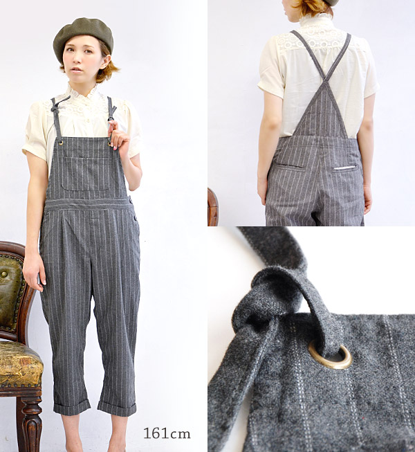 Stripe pattern all-in-one to wear for a feeling of of a texture peculiar to wool refined cloth. Combinaison ♪ /fs3gm ◆ rivet and surge (rivet and serge) which the atmosphere that sarouel pants-like のずるっと is slow has a cute: Stripe wool cropped salopette