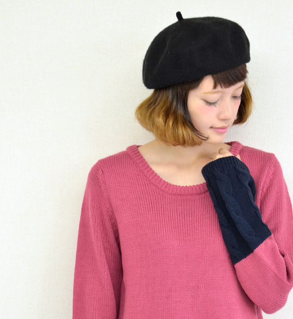 Popular bicolor × presence in cable knit toggle different ♪ sweet discreet straight lines ニットミニワン piece / long sleeve / women's / Combi color / mini-◆ Zootie ( ズーティー ): one piece two-tone knit cable switch