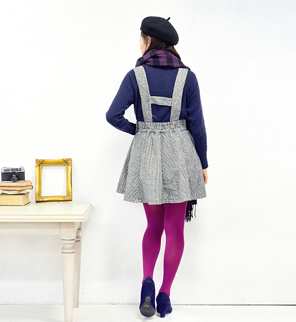 "The flared skirt which opens to a bit big shoulder string gently. Sleeveless one piece / salopette skirt / all-in-one ◆ rivet and surge (rivet and serge) of the plover checked pattern raising material which ""is the retro"" which wants to be idle"