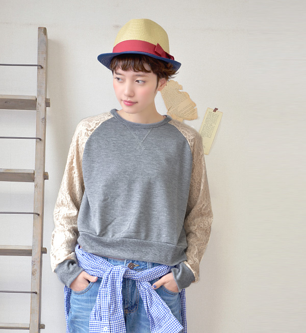 It is girly MIX-style by a race change by the sleeve of raglan sleeves sweat shirt! Sweet knitting light sweat shirt pullover Lady's long sleeves shortstop length fleece pile ◆ w closet (double closet) soft softly to be able to dress well for a cut-and-s