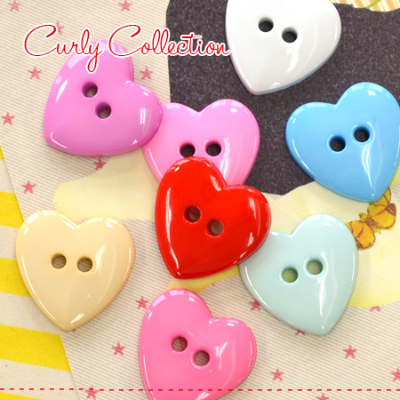 A heart-shaped colorful button eight set! Two hole button Lady's fashion  miscellaneous goods craft handicrafts article motif heart colorful button