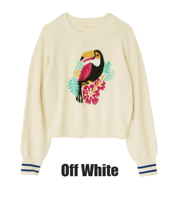Tropical plenty ♪ bird motifs and colorful short-length thin sweater ladies women's animal pattern knit spring winter long-sleeved ◆ closet w (double closet): tropicalbirdlaitenitshortpur over