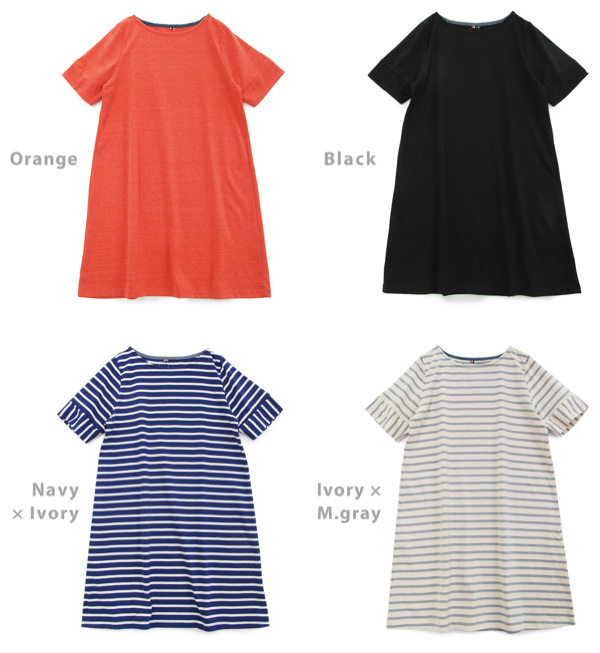 A feeling of NEP creates a natural texture! Tunic dress ◆ basque like cut-and-sew [short-sleeved one piece] to be able to enjoy in soft comfort even if I take the atmosphere of the basque relaxedly in A-line one piece border plain fabric Shin pull basic