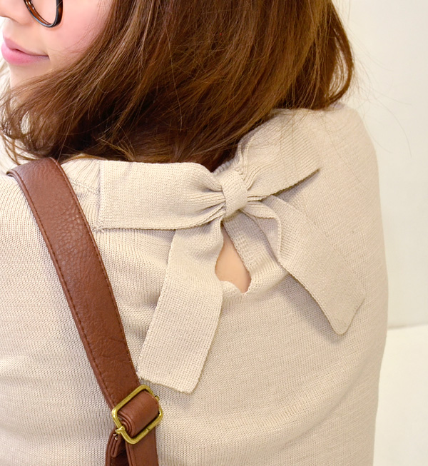 In a back figure cotton blend knit one piece knitwear one piece tunic mini-dress long sleeves horizontal stripes spring knit spring knit spring ◆ Zootie (zoo tea) of a girly or the feel that design ♪ was smooth boom: Back ribbon dropped shoulder sleeve k
