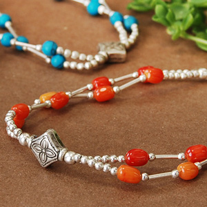 "Cute gemstone reminiscent of fruit crop in Asia! A unique matte silver beads classy texture and natural stone breath! ◆ Silver Bead Bracelet [Asian PCI fruit], ""products at outlet prices."
