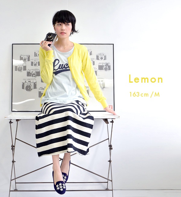 100% of M/L cotton lady's tops long sleeves light knit thin haori round neck horizontal stripe plain autumn washable washable knit ◆ zootie (zoo tea): Ordinary light cotton knit crew neck cardigan