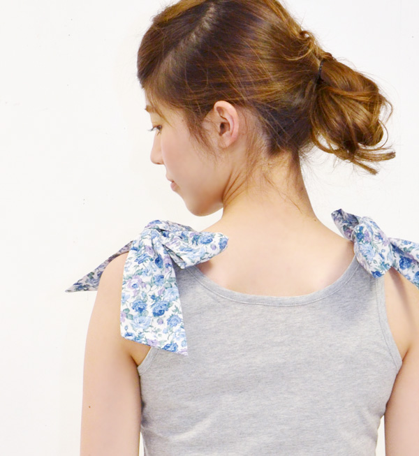 Increase it double りぼんで times; is pretty! Pattern りぼんになった inner tank camisole summer ◆ zootie blanche (ズーティーブランシェ) big a shoulder string: Girly fabric double ribbon tank top