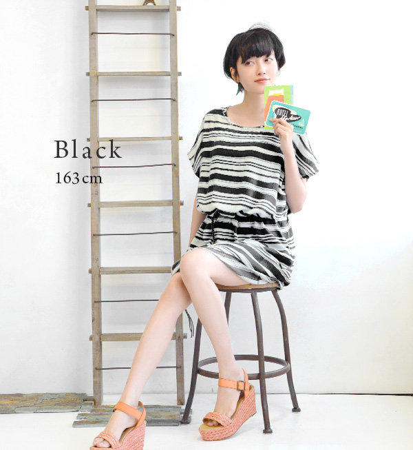The advantageous item that inner one piece was set on a handwritten multi-horizontal stripes dress! Beads neck rough horizontal stripe rayon one piece with the relaxedly short-sleeved dolman design petticoat ◆ petticoat dress