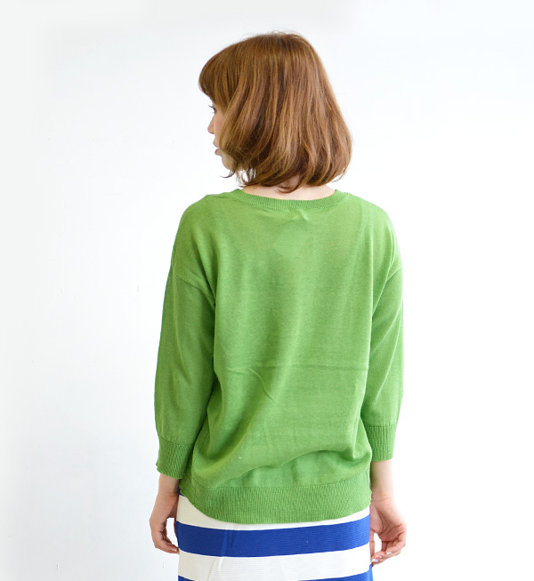 Always usable! The unhurried light knitwear of the cotton hemp knit material. Lady's tops cotton knit thin summer ◆ C.L.N (sea L N): Cotton linen light knit dropped shoulder sleeve pullover [round neckline, three-quarter sleeves]