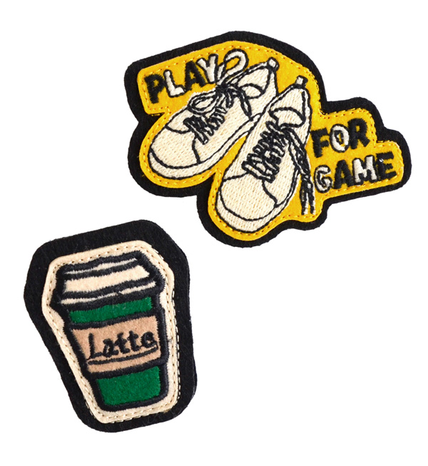 The emblem broach of sneakers and the cup. On a hat in a bag for a stall. Only attach it; to a stylish casual item transformation ♪ broach shoes ◆ rivet and surge (rivet and serge): ワッペンバッヂ [LATTE & SHOES]