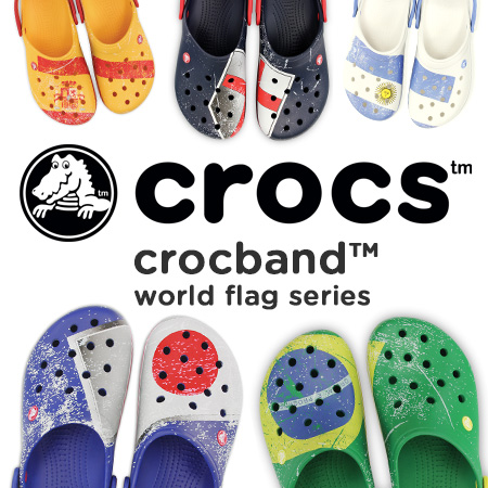 9f08f9dbb ... Crocs Clocks Crocband World. E Zmania S The National Flag Of Each  Country Is Motif