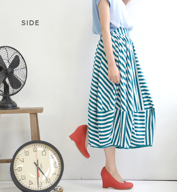 I change an island stripe to the side in length! Individual skirt long length maxiskirt length maxi long skirt bias horizontal stripe ◆ length side border long shot balloon skirt of the long length X balloon silhouette which designed horizontal stripe cu