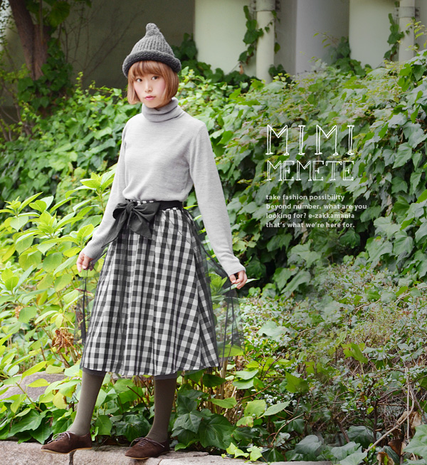 The long skirt with the big ribbon belt which stacked Jyr in a gingham check. Maxiskirt length long length Lady's ◆ MIMIMEMETE (ミミメメット): BIG ribbon gingham check Tulle maxi