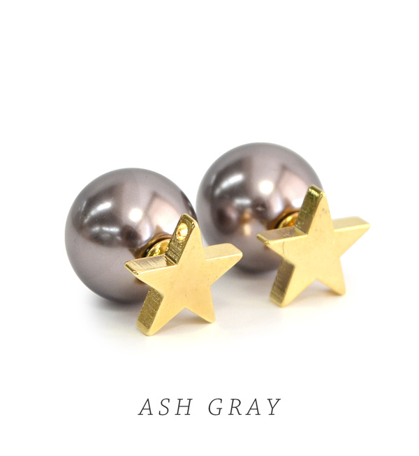 Large Faux Pearl Was To Catch The Star Motif 2way Earrings