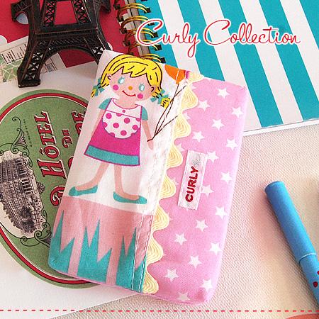 """可爱的""""PIPI""""印刷的拼凑细工设计的口袋手巾纸门♪女人的孩子手巾纸覆盖物◆Curly Collection(karikorekushon):印刷手巾纸情况[pippi/粉红×白明星]"""