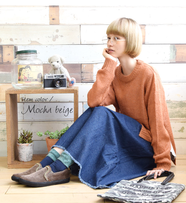 Sneakers slip-ons gold chain Lady's shoes sneakers low-frequency cut ぺたんこ shoes フラットマニッシュポインテッドトゥ winter walk and ◆ zootie (zoo tea) which I breathe it and do not have a pain in: Corduroy chain slip-on shoes