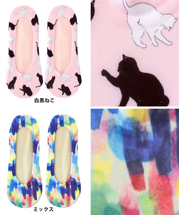 有合身感觉的聚酯×针织的舒适的转换设计。供女子的覆盖物短袜脚服装袜子妇女使用的袜子短袜猫猫动物花纹动物花纹脚背短袜◆印刷脚罩