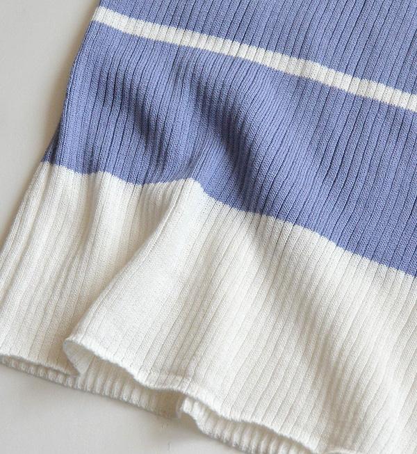 因為很薄所以春天也能在夏天穿的伸縮性超群的肋條編織物套衫。 女子的頂端內部編織物財編織物很薄的休閒的邊緣多邊緣短袖夏天◆☆活動中的☆重新流行多邊緣肋條編織物套衫
