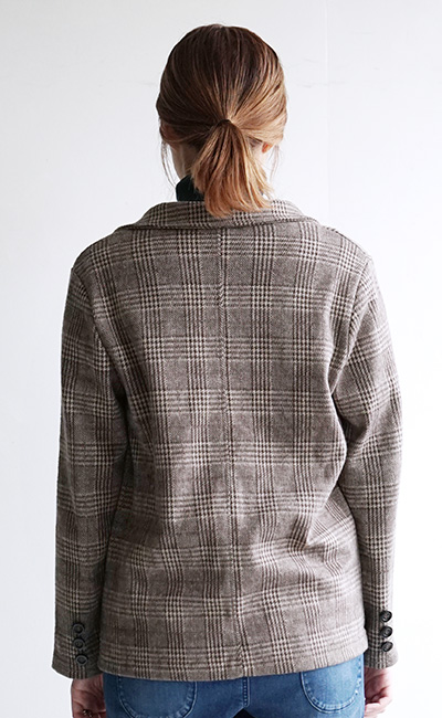 The jacket of the soft raised T-cloth material which jacket / mind light car can put on. ◆ glen check tailored jacket in lady's tops haori outer light outer jacket coat long sleeves cut-and-sew jacquard extension soft glen check tailored refined きれいめ fal