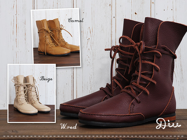 "●-stylish authentic resales up boots than ""Diu' races the concolor classy! Easy-to-code standard color genuine leather handmade boots, so items / spring boots ◆ Diu: ☆ sale ☆ lace-up leather boots"
