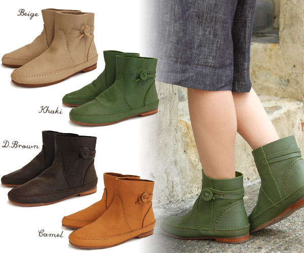 -Short boots with luxury casual button-flower wagon soft Buffalo leather and cowboy boots shaped accent from the IEL appeared! And spring boots ◆ sale ☆ ループボタンレザー ☆ C.I.L.: short boots