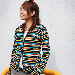 "Horizontal stripes cardigan of the multicolored to give off presence the bright color of direction ♪ several colors at the hand where the strong finger hole supporting it of the girl is delicate from ""gym master"" (gym master) appearance ◆ gym m"