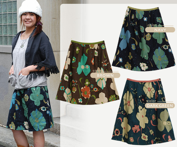 ◆ nostalgic flower cotton skirt that India cotton having the nostalgic modern colorful flower and unique texture that a trapezoid skirt was treated softly by appearance ♪ boldness to bring on nostalgic air matches it and creates individual impressions
