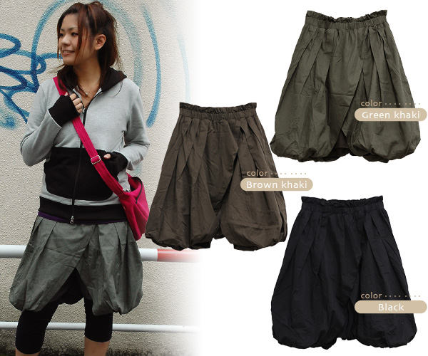 The balloon culottes which feature the individual silhouette with full of gathers! ◆ Petica which surrounds the bottoms of the pechka to sarouel pants, and directs a quality of オンナノコ by the design which I wrapped with a skirt: ボリューミーラップバルーンキュロット