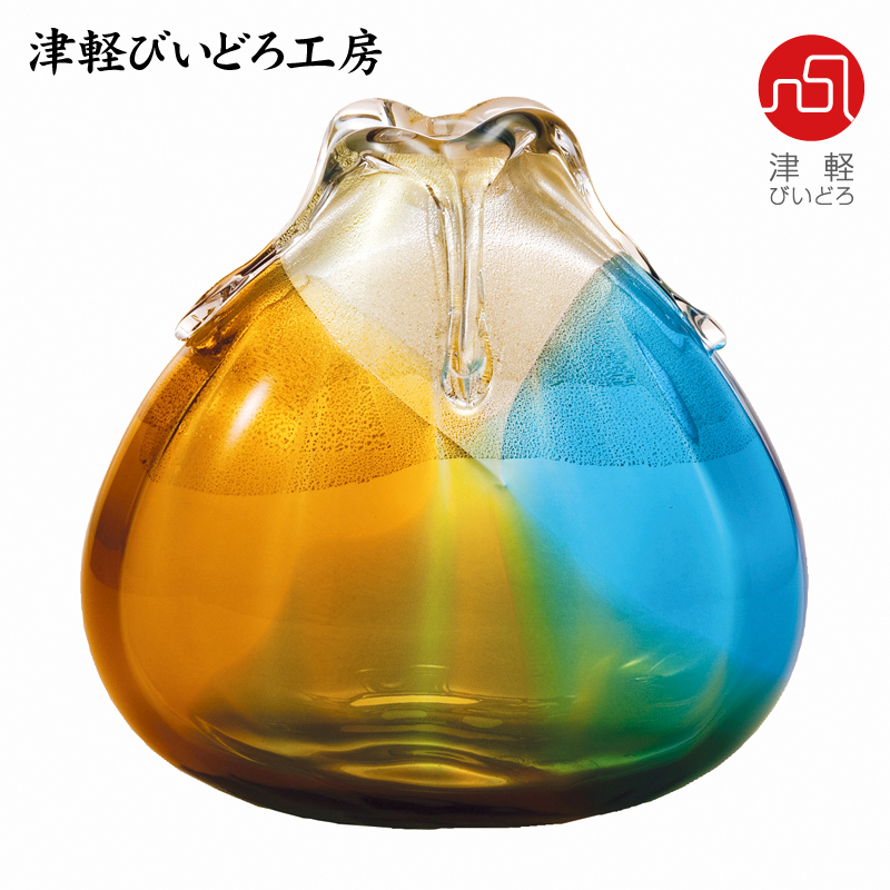 津軽びいどろ 花器(大) 金彩秋風 F-77308(ADERIA GLASS)