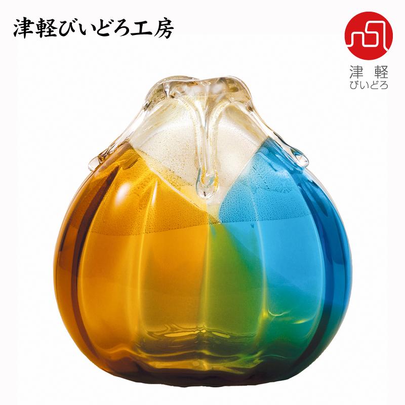 津軽びいどろ 花器(中) 金彩秋風 F-77309 (ADERIA GLASS)