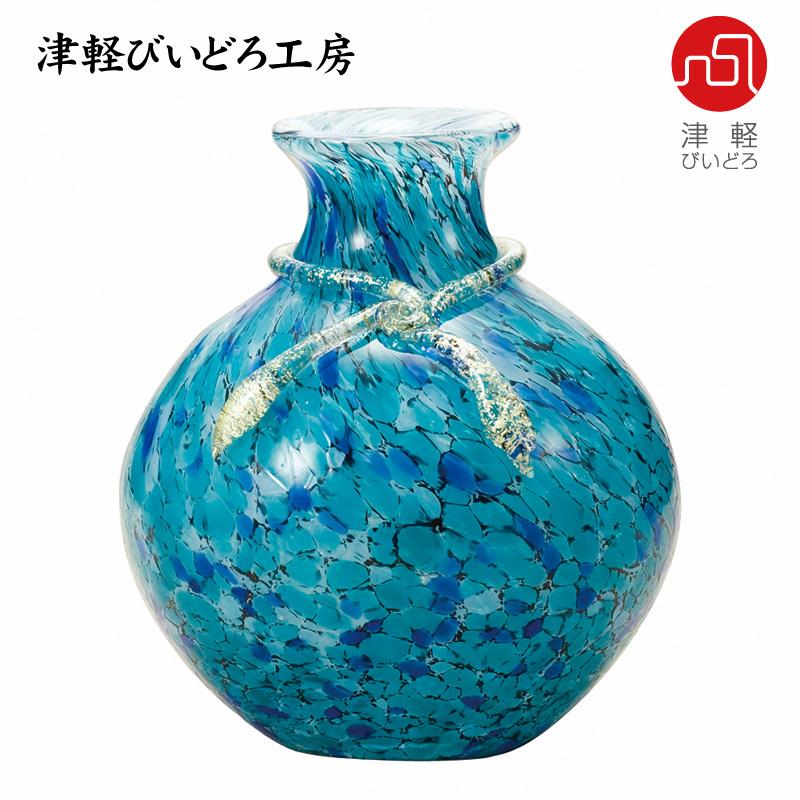 津軽びいどろ 花器 紫陽花(あじさい) F-77636 (ADERIA GLASS)