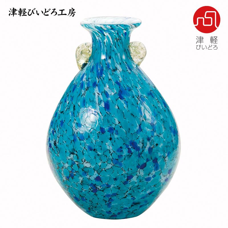 津軽びいどろ 花器 紫陽花(あじさい) F-77637 (ADERIA GLASS)