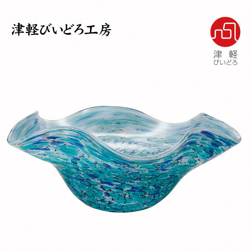 津軽びいどろ 水盤 紫陽花(あじさい) F-77638 (ADERIA GLASS)